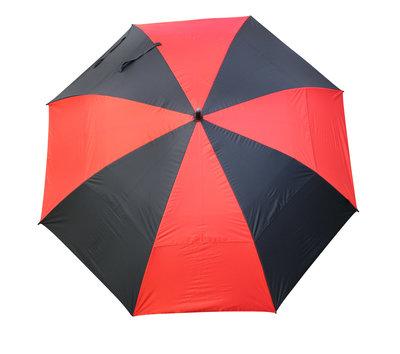 Masters TourDRI UV beschermende golfparaplu - JET BLACK/POPPY RED PANELS