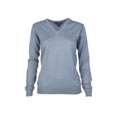 Greg Norman V Neck Merino Pullover Grey Heather - Dames