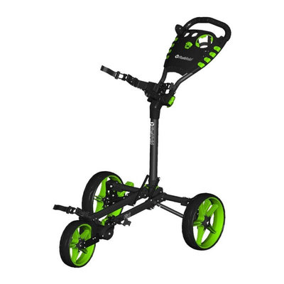 FastFold Flat 3-Wiel Golftrolley - Charcoal/Lime